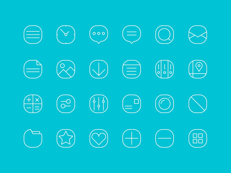 20+  Simple Line Icons ui psd line stroke free freebie set icon icons music blue white