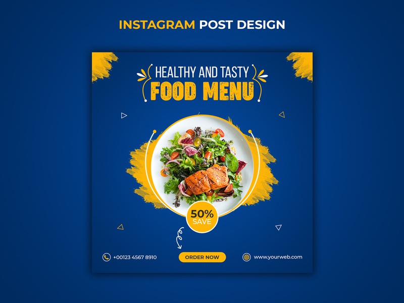 Healthy food menu and restaurant instagram story template