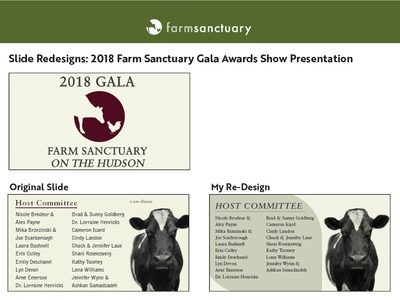 Slide Redesigns - Farm Sanctuary Award Show Gala 2018