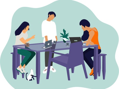 Discussion with partners consultation table discuss friends ui design flat illustration