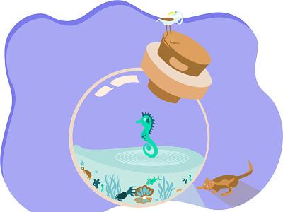 Jar Aquarium marine mammals heron ocean graphicdesign graphics pitcher jar aquarium design flat illustration