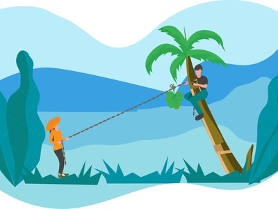 Tearing Green Coconut adventure fun friends coconut design flat illustration