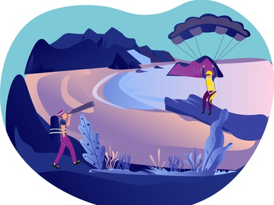 Adventure in a beach mountains beach telescope teenagers parachute design illustrator illustration