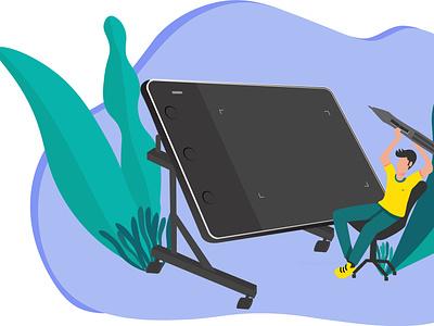 Graphics Tab illustrator graphic designer tab graphic tablet flat illustration