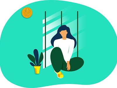 Sitting woman relaxed floor sitting woman girl ui flat illustrator illustration