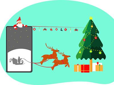 Upcoming Merry Christmas vectorart deers christmas gifts santa santa claus santaclaus christmas cart christmas cart christmas illustration merry christmas christmas tree christmas xmas tree design merry xmas ui mask illustrator flat illustration