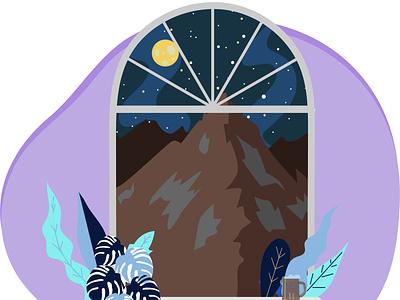 Mountain view window beer leaves arch window stars full moon night view nature art mountain ui vector illustrator flat illustration