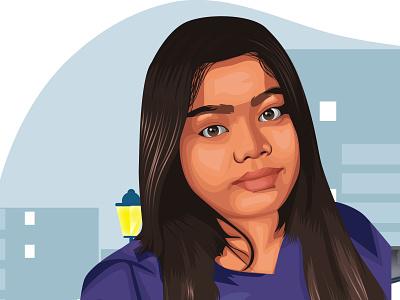 Lady in blue vectordrawing vector illustration vectorart digitalart illustrator vector ui illustration cartoon illustration portrait