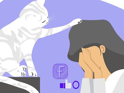 True Consolation crying upset girl sitting cat animal illustration social media addiction socialmedia emotion teenager design ui digital illustration digitalart illustrator vector flat illustration