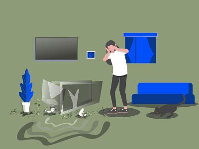 Broken Aquarium careless interrior decoration indoor preset fish aquarium digital illustration digitalart ui teenagers design illustrator flat vector illustration