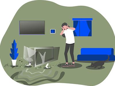 Brocken Aquarium careless interrior decoration indoor preset fish aquarium digital illustration digitalart ui teenagers design illustrator flat vector illustration