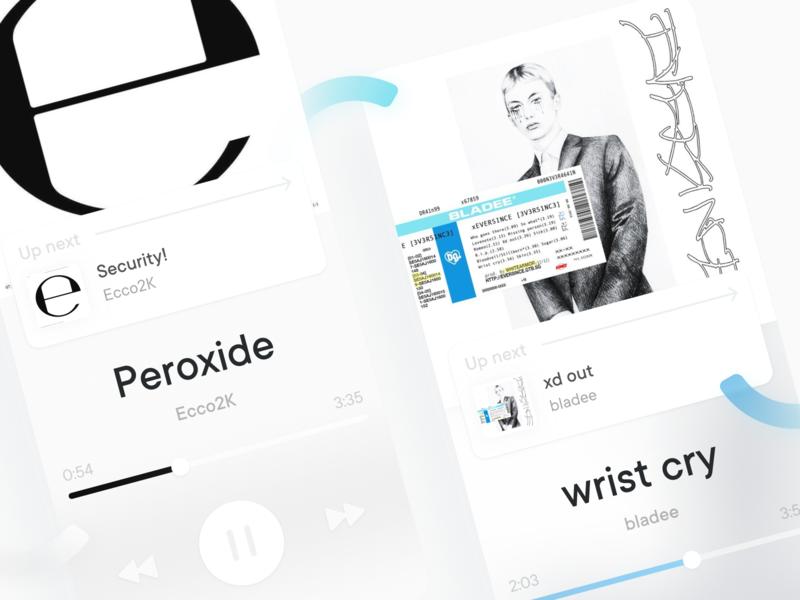 Music Player drain album bladee ecco2k stream gradient minimal music player uiux blue ui ux colors app figma design