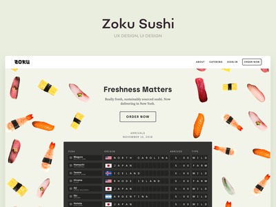 Zoku Sushi branding food ecommerce d2c ux ui