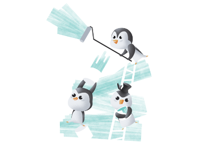 Penguin painting services funny illustration painting wacom tablet kawaii cute animals brushstrokes texture negativespace digital illustration character affinityphoto affinitydesigner affinity pencildog illustration design character design