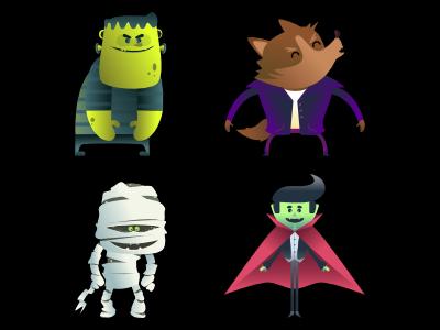 Super cute monsters group frankenstein mummy vampire werewolf kawaii halloween monsters vector digital illustration character pencildog illustration affinitydesigner affinity character design