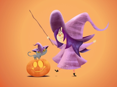 Little witch with her cat + pumpkin friend magic wand magic pumpkin cats halloween digital illustration character pencildog illustration affinityphoto affinitydesigner affinity character design