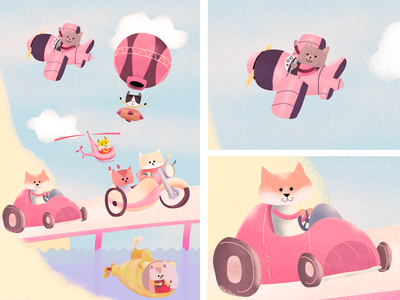 Feline means of transport pilot cats digital illustration character pencildog illustration affinityphoto affinitydesigner affinity character design