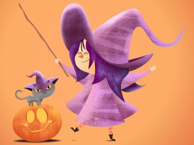 Little witch with her cat fantasy digital illustration affinityphoto pencildog affinitydesigner affinity character illustration character design design