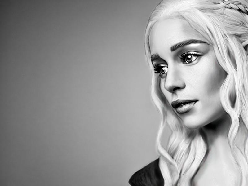 Daenerys daenerys targaryen game of thrones khaleesi draw illustration bw fanart