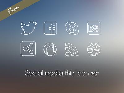 Social Media thin icon set social media icon icons set pack download free vector thin elegant freebie