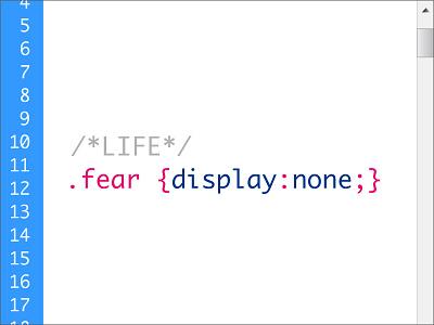 .fear {display:none;} css dreamweaver code fear display vector concept
