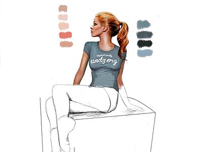 Work in progress illustration work paint progress blonde girl profile