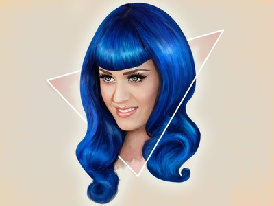 Blue hair illustration drawing katy perry blue hair portrait fanart