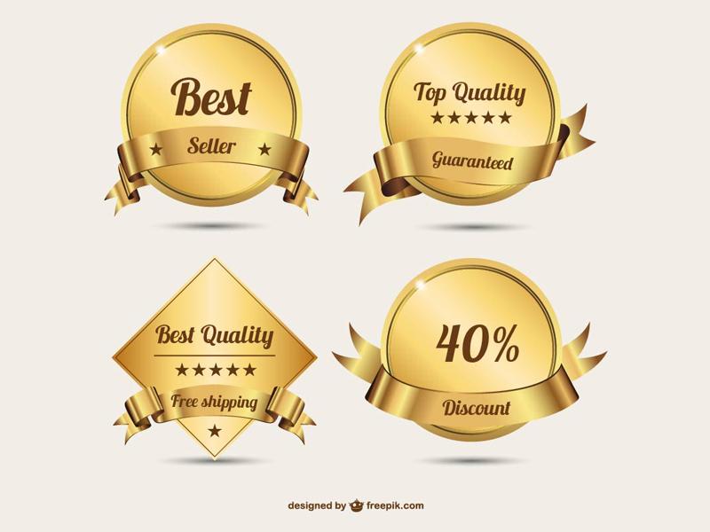 Golden badges (Freebie) badges golden vector free freebie