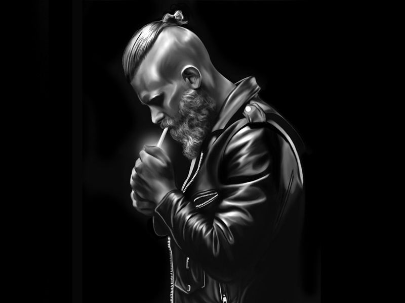 Illustration. Ugly on the skin. Lovely from within. tough guy motorbike illustration