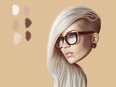 Digital illustration in progress blonde illustration modern hipster drawing digital art