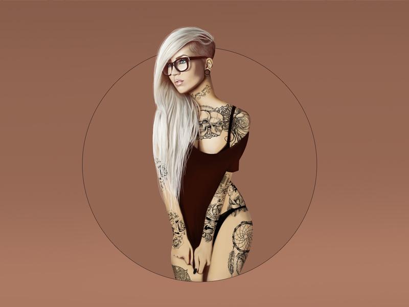 Digital ink illustration tattoo tattoed girl ink illustration