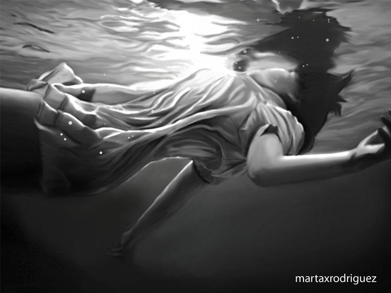 Underwater illustration white black underwater girl illustration