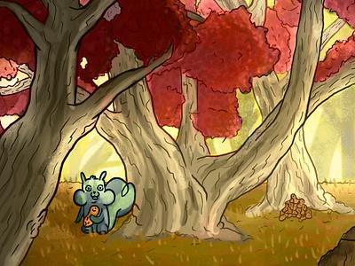 Autum Squirrel childrens illustration trees photoshop digitalart cute squirrel autum forest illustration