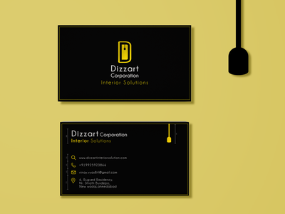 Dizzart Corporation Business card Front and back brand identity minimal business card branding