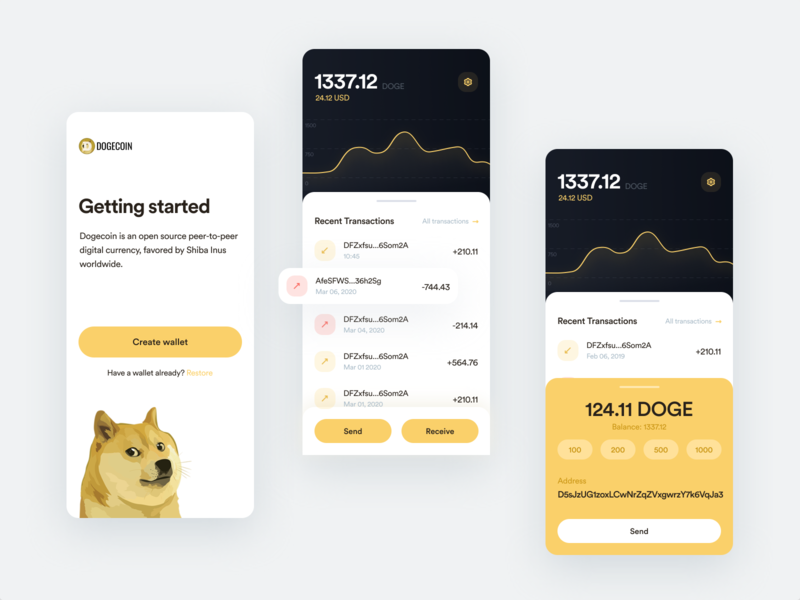 Dogecoin mobile app dashboard blockchain crypto wallet wallet dogecoin doge token portfolio finance exchange ethworks ethereum crypto cryptocurrency bitcoin