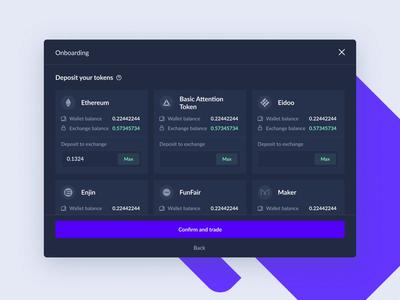 DeversiFi Onborading token onboarding ethworks dashboard exchange wallet crypto cryptocurrency finance blockchain ethereum bitcoin
