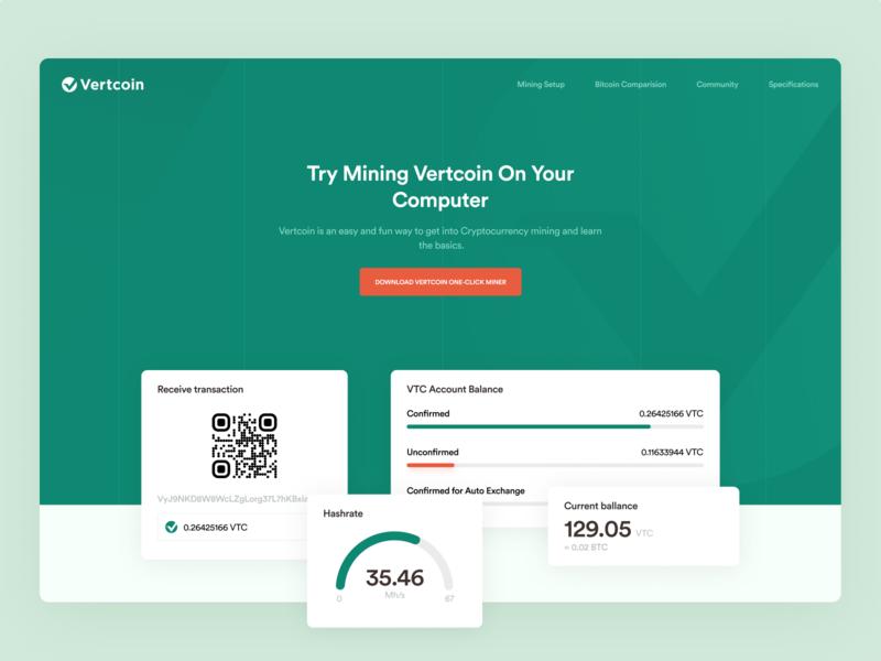 Vertcoin Landing Page vertcoin ethworks exchange wallet crypto cryptocurrency finance blockchain ethereum bitcoin