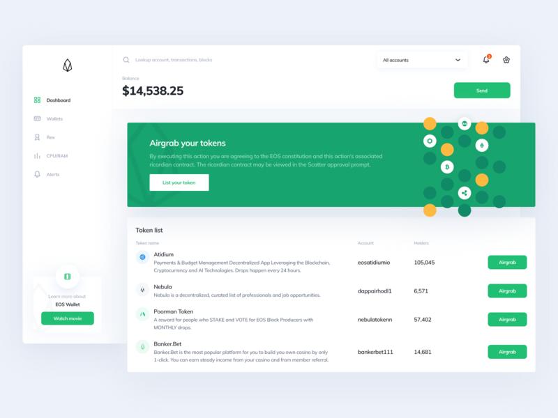 EOS Wallet eos ethworks dashboard exchange wallet crypto cryptocurrency finance blockchain ethereum bitcoin