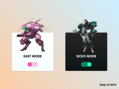 Overwatch-themed Toggle Switch UI Cards