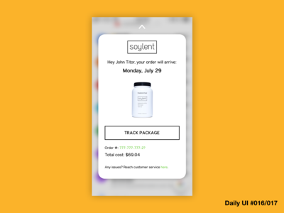 Email Receipt + Popover UI Concept