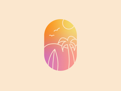 Gradient Summer ocean sea art sun palm tree surf logo minimal gradient summer