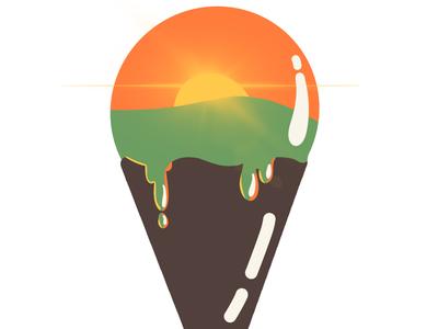 Sunset dripping ice cream