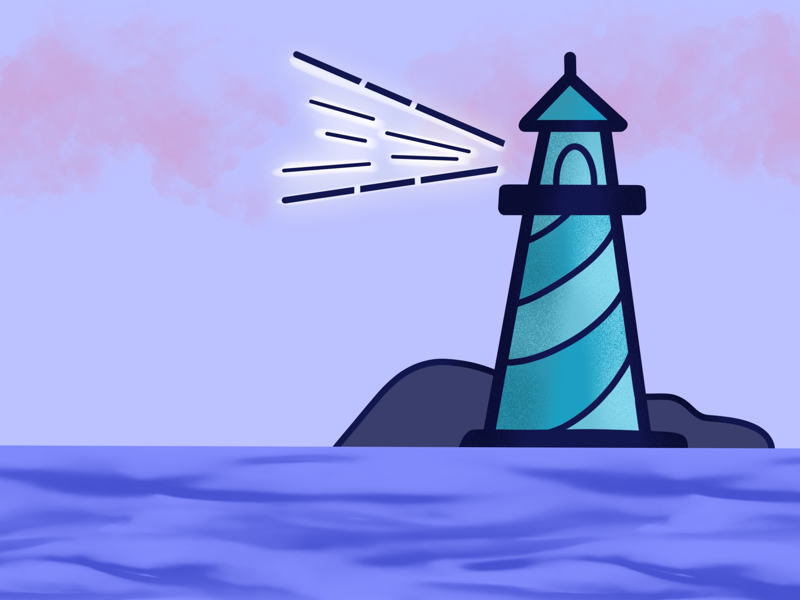 Lighthouse minimal design illustration procreate light ocean sea blue purple lighthouse