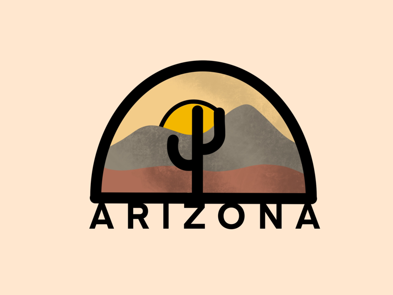 Arizona branding design procreate logo orange sun cactus state illustration minimal brown dessert city arizona