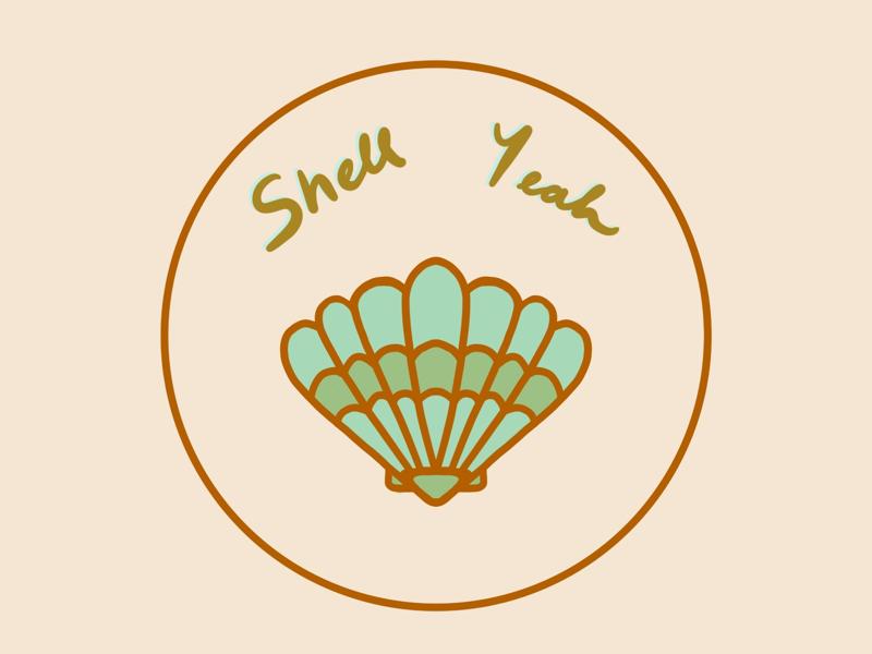 Shell Yeah summer ocean sea blue text procreate illustration seashell shell