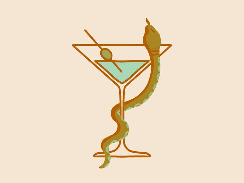 Martini & Snake serpent drink olive animal glass green drawing procreate illustration snake martini