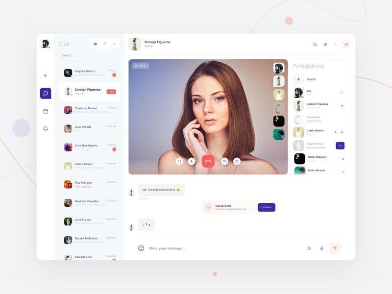 Video conferencing with real-time messaging group chat chatting design video chat blue user interface design user experience userinterface webapps collaboration conferencing chatbot chat app video
