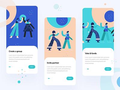 Landing Page Screens invite mobile design iphone product design illustrator user interface funding vote landingpage mobile ui