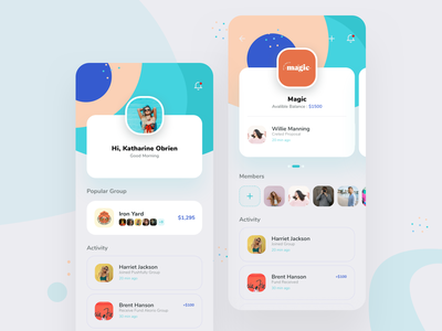 Group view & User View Screens membership illustration mobile app design activity dashboard user profile group view product design funding uidesign mobile mobile app
