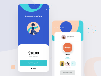 Payment & Pending Decision Screens illustration cryptocurrency payment method payment app blockchain decision mobile payment payments apple pay payment ui